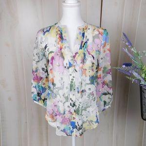 Fei Sheer Silk Floral Blouse